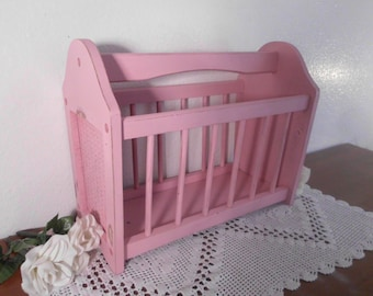 Magazine Rack Pink Shabby Chic Wood Rustic Beach Cottage French Country Farm House Home Decor Up Cycled Vintage Girl Bedroom Nursery Gift
