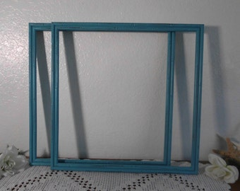 Aqua Turquoise Teal Blue Rustic Shabby Chic Distressed 16 x 16 Large Square Wood Frame Set Beach Cottage Coastal Seaside Island Home Decor