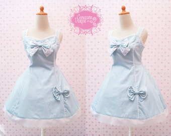 Blue Polkadot Lolita Dress Dress Cotton Big Ribbon