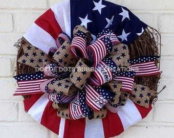 Thank You For Your Service Patriotic Grapevine Flag Wreath