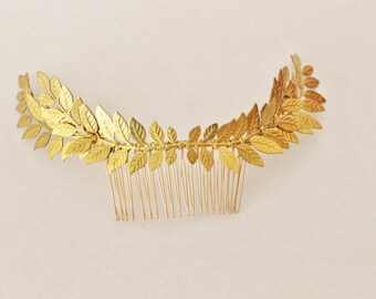 Grecian Gold Tone Brass leaf  branch hair comb headpiece