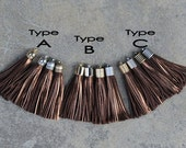 2 Metallic Brown Leather TASSELs in 10mm Cap -4 colors Plated Cap- Pick cap type and cap color