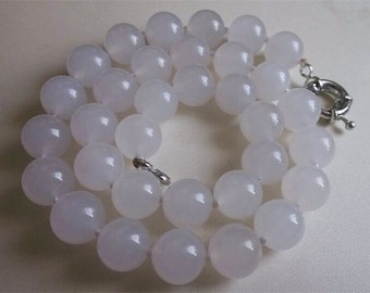 Free shipping- 17inch 12mm white  jade necklace /stretch bracelet & earring set