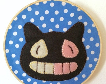 Cookie Cat - Steven Universe Felt Wall Art in Embroidery Hoop
