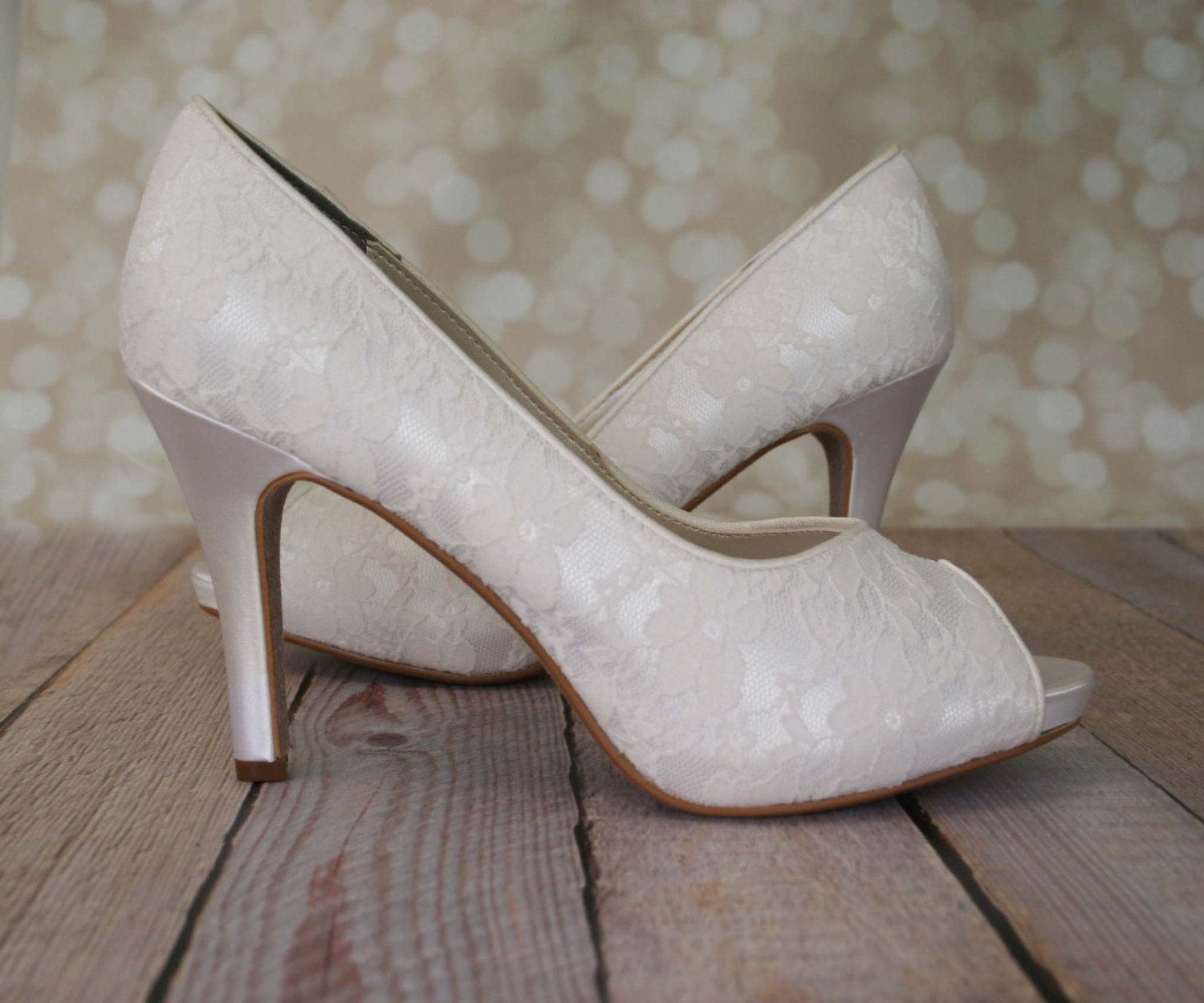 Ivory Wedding Shoes Ivory Peep Toe Wedding Shoes With Lace