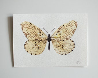 Cream Butterfly - original watercolor illustration
