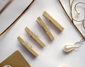 Clothespins - Gold Glitter Wedding || Gold Glitter Wedding Clothes Pins