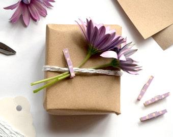 Clothespins - Set of 8 - Pastel Wrap Purple & White Mini Pegs