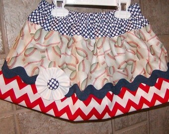 Girls skirt, Infant skirt, toddler skirt, Custom..Baseballs N Navy..sizes Newborn to girls 15/16