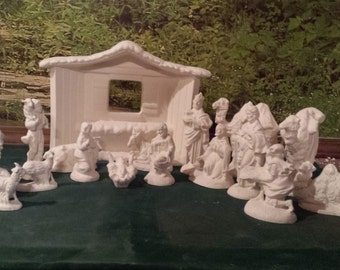 Large,Vintage Nativity, Set,Alantic Nativity,Mary,Joesph,Jesus,Holy night,Holy Family,Creche, Manger,Ready to paint, Ceramic bisque,u-paint,