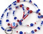 SPIRIT DAYS- Beaded ID Lanyard- Lampwork Focal Bead, Sparkling Crystals, Millefiore Beads, & Cat's Eye Beads (Comfort Created)