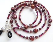 POMEGRANATE PEARLS- Beaded Eyeglass Chain/ Lanyard- Pomegranate Cultured Pearls with Amethyst Crystals and Silver Accents