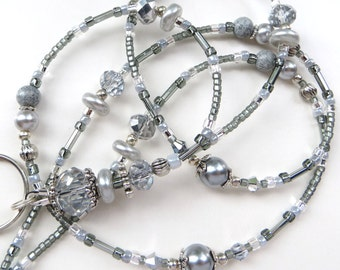 STUNNING SILVER- Gorgeous Beaded ID Lanyard Badge holder- Silver Crystals and Pearls with Tibetan Silver Beads and Spacers (Magnetic Clasp)