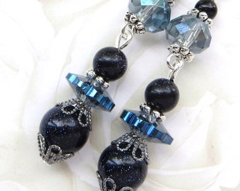 CRYSTAL NIGHT- Beaded Dangle Earrings- Gorgeous Blue Crystals, Galaxy Star Sandstone Beads, Tibetan Silver Accents- Stainless Steel Earwires