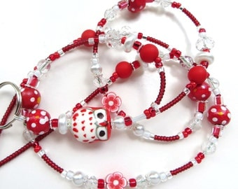 CHEERFUL RED OWL- Beaded Id Lanyard- Porcelain Owl, Polymer Clay, Wood and Matte Beads, Pearls, & Sparkling Crystals (Magnetic Clasp)