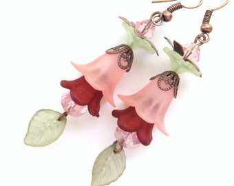 AUTUMN LEAVES- Long Dangle Beaded Earrings- OOAK- Lucite Flowers and Sparkling Crystals- French Hook Ear Wires