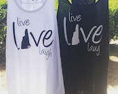 1 Personalized Bride and Bridesmaids Racer Back Tank Tops - Live, Love, Laugh State Love