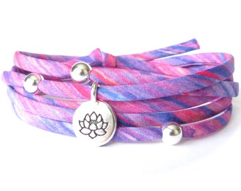 Lotus bracelet with Liberty fabric and sterling silver beads, Yoga gift for best friend, purple, lilac & raspberry, bracelet shop for girls