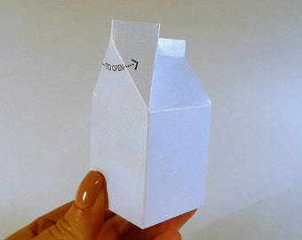Mini milk cartons, DIY die cuts, set of 12, white shimmer Wedding favors, party favors, gift boxes, DIY papercraft