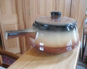 Watt Pottery Esmond Tri-Color Ceramic Bean Pot w Handle Lidded Casserole 1940s