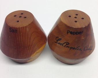 CALIFORNIA CEDAR  Salt & Pepper Shakers Los Angeles California Wood