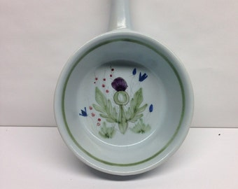Buchan Pottery Open Soup Bowl Thistleware  Stoneware Portobello Scotland Scottish Thistle Hand painted  blue, green and purple