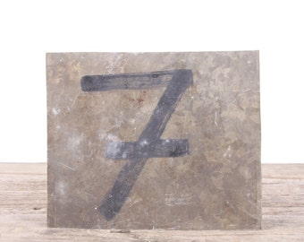 "Vintage Metal Number 7 / Old Number 7 / 7.75"""" Score Board Number / Old Sports Sign / Vintage Number / Metal Numbers /Silver Antique Sign"