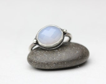 Natural Chalcedony Ring, Checkerboard Cut, Pale Blue, Sterling Ring, Size 7.75
