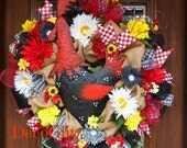 Mesh and Burlap ROOSTER WREATH with SUMMER Flowers