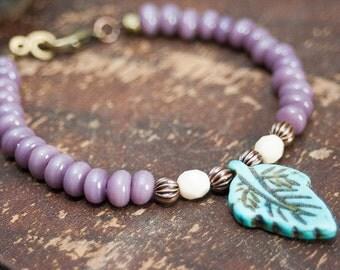 SALE Turquoise Leaf Lilac Purple Beaded Bracelet Leaf Charm Copper Aqua Bracelet Purple Turquoise Stacking Bracelet Boho Bohemian Jewelry