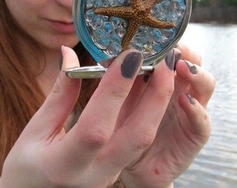 Genuine Starfish-Compact Mirror-Silver Compact-Nautical Gift-Mermaid Accessories