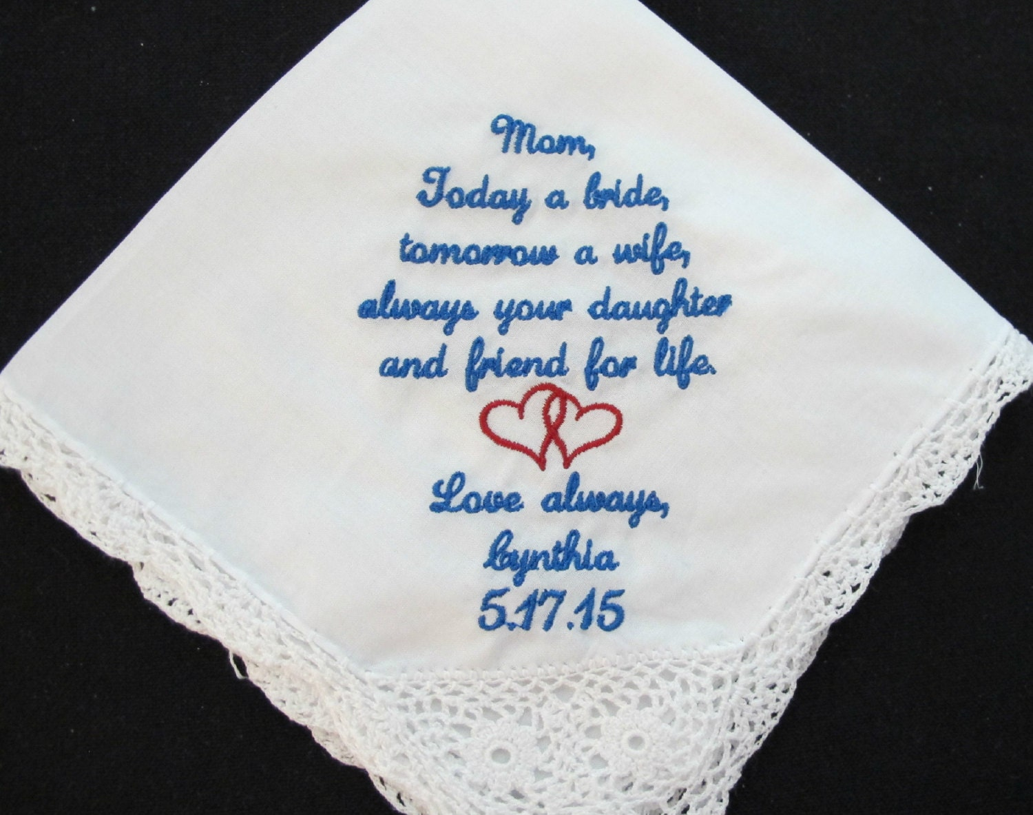 Wedding handkerchief embroidered for the mother of bride
