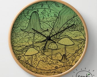 Toadstool Wall Clock, 10 Inch, Illustrated
