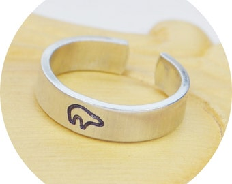 Bear Adjustable Ring- Hand Stamped Aluminum Bear Ring - Any Size- Size 5, 6, 7, 8, 9, 10, 11, 12