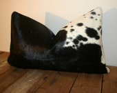 Brazilian Cowhide Pillow Cover 12x20 inches/  Black and White Spotted Cowhide pillow cover  / All Natural