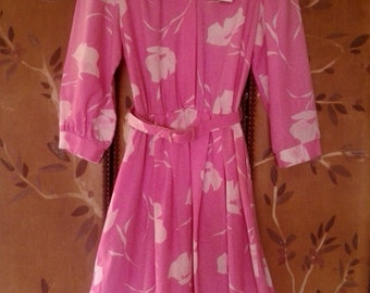 80s Pink and white flower Sears Shirt dress