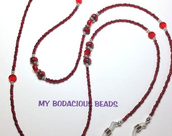 "Handmade 33"" RED and SILVER  EYEGLASS Chain  Red Glass Beads Silver Accent Beads Durable Handy"