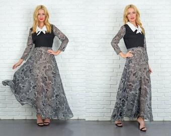 Vintage 60s Black Mod Dress Floral Polka Dot Print Ascot Maxi Full S M 4669