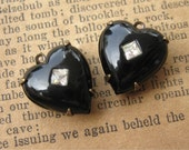 Vintage Black Glass Heart Stones with Inset Crystals in Brass Ox Settings 15mm (2)