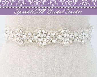 Bridal Sash, Bridal Belt, Wedding Dress Sash, Wedding Dress Belt, Bridal Sash Belt, Pearl Bridal Dress Sash, SparkleSM Bridal Sashes, Hannah