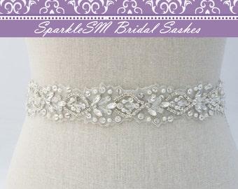 Rhinestone Bridal Sash, Ivory Bridal Sash, Bridal Belt, Bridal Sash, Beaded Bridal Belt, Wedding Dress Sash, Crystal Sash, SparkleSM, Sylvie