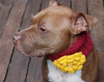 Dog Cowl Burgandy with Yellow Flower Made to Order
