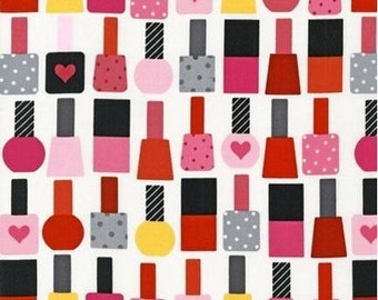"""END OF BOLT - Nail Polish on White From Robert Kaufman's This and That Collection by Ann Kelle - 35.5"""" X 44"""""""