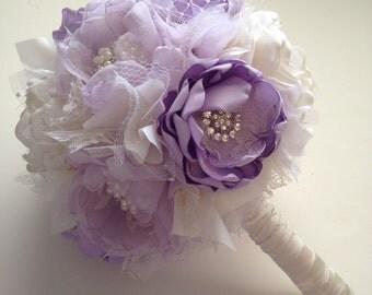 Fabric Bouquet - All Sizes Available  -Lavender Purple and Cream, Bridal Bouquet - Heirloom Bouquet, Keepsake Bouquet - Fabric Flowers