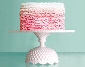"Cake Stand Pedestal w/ Milk Glass Hobnail Base / White Cake Plate / Cake Dish / Cake Platter Cake Tray / 12"" or 14"" Ceramic -like Cake Board"