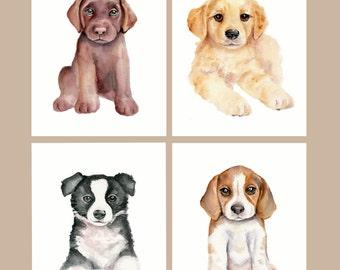 Puppy Nursery set- 8 X 10, Dog Nursery Art, Childrens Art prints, Dog Wall Decor, Dog Watercolor, Nursery prints, Dog art prints