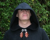 Pair of Oak, Ivy or Holly Leaf or Feather 'Cloak Clips' by Triba Mythica to accompany Legendary Cloaks and Elven Coats
