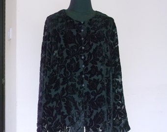 25% OFF Black devore velvet jacket, boho burnout silk sheer glamour