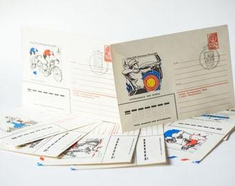 Commemorative envelopes, 1980 Summer Olympics Moscow envelopes, set of 8 mail envelopes with stamps, unused stationery USSR