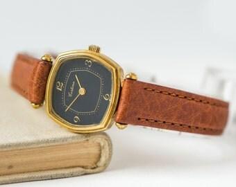 Gold plated Certina, ladies watch black, Swiss mechanical woman watch, modern lady dress watch, premium leather strap new